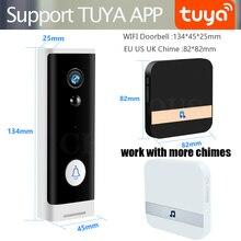 와이파이 비디오 초인종 무선 도어 벨 전화 전화 인터폰 rechargable 배터리와 TF 카드 기록 chime Tuya APP