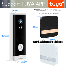 wifi video doorbell wireless Door bell at calling Phone video intercom rechargable battery with TF card record chime Tuya APP