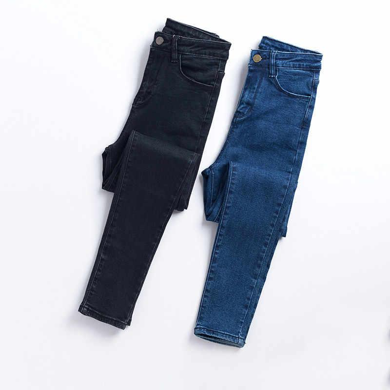 Musim Gugur Celana Jeans Wanita Celana Jeans Hitam Vintage High Waist Denim Wanita Denim Celana Elastis Tinggi Kurus Pensil Stretch Jeans Femme