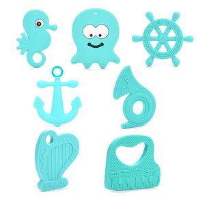 Wholesale Ocean Musician Silicone Teether Toys Necklace Accessories Infant Chew Toys Silicone Beads Soft Baby teether DIY