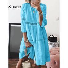 Женское платье с вырезом лодочкой Boho, однотонное Открытое платье средней длины, летнее пляжное платье размера плюс, белое винтажное голубое...