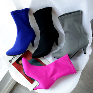 Image 5 - Soft Slim Stretch Socks Boots Women Fashion Rose Blue Heeled Womens Ankle Boots Autumn Spring Pointed Toe Womens Shoes Big Size