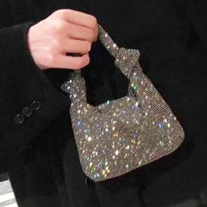 Ladies Clutches Bling Design  Hand Totes Evening Clutch Fashion Handbag Women Vintage Soft Dimond Hand Purse Luxury Bolsa