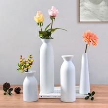Biały ceramiczny uchwyt na rośliny wazon na kwiaty suszony kwiat układ dekoracja stołu rzemiosło salon meble meble prezenty tanie tanio Nowoczesne Ceramiki i porcelany Blat wazon XXMW-20052505 ceramic flower vase desk decor desk flower vase miniature model