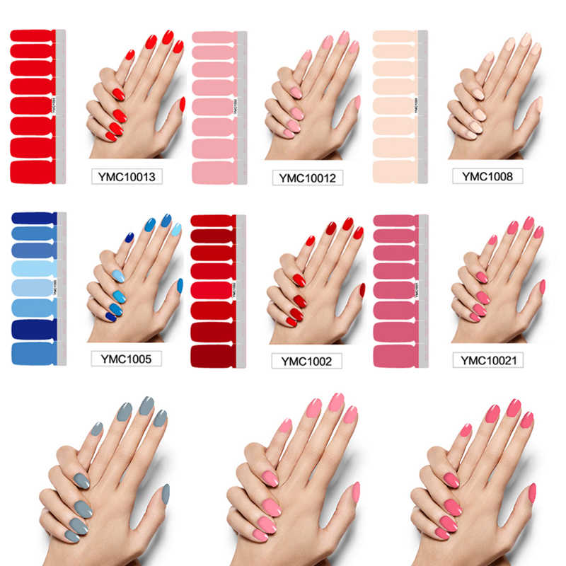 Pure Color DIY Nail Wraps Full Cover Nails Sticker Art Decorations Manicure Adhesive Polish Nails Solid Color Valentine Gift