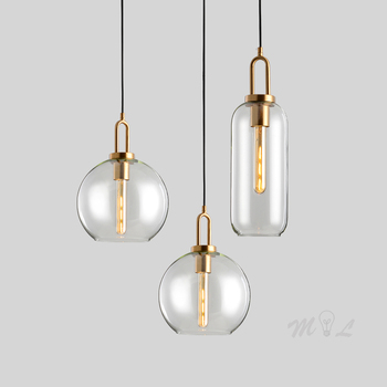 Modern Glass Ball Pendant Lights for Bedroom Nordic Hanging Lamp Home Deco Fixtures Living Room Kitchen Loft Suspension E27 Lamp