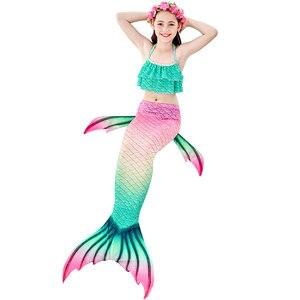 Image 4 - Nuovi bambini la coda di sirenetta con ghirlanda può aggiungere Costume da bagno a sirena Monofin Costume da bagno Bikini Costume da bagno nuotabile