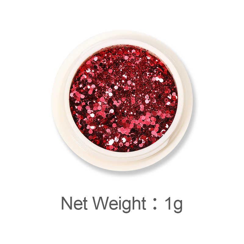 6 Kotak/Set Kuku Payet Mawar Emas Kuku Glitter Bubuk Warna-warni Serpihan Pigmen Debu Chrome untuk Dekorasi Kuku Palliette
