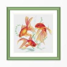 """""""Три золотые рыбки"""" Животные Мультфильм Счетный крест комплект 14ct 11ct набивная ткань вышивка DIY рукоделие высокое качество Fishxx"""
