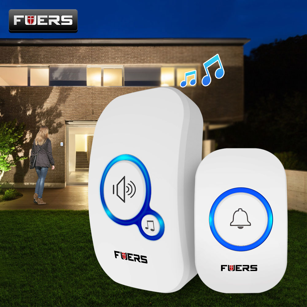 Image 1 - Fuers Home Wireless Doorbell Welcome Chime Doorbell Alarm 32 Songs Store Smart Doorbell EU UK US Plug Cordless Waterproof Button-in Sensor & Detector from Security & Protection