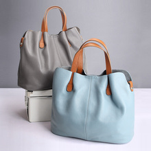 Genuine Leather handbags head layer cowhide litchi grain women handbags fashion Portable shoulder messenger bags composite bags