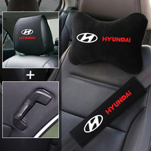 High quality car seat kit embroidery logo neck pillow headrest Covers seat belt pad handle cover for Hyundai Tucson Solaris I30