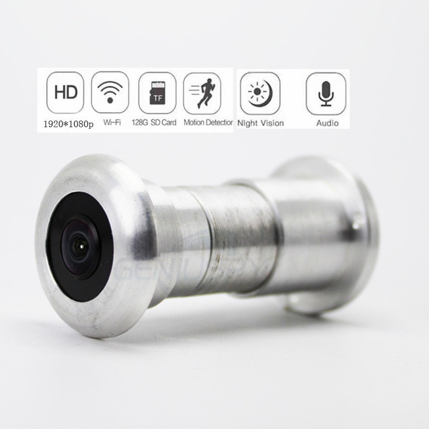 1080P P2p Audio Video 940nm Invisible Ir Night Vision Wifi Wireless Door Viewer Peephole Fisheye Camera 180degree Sd Card Slot