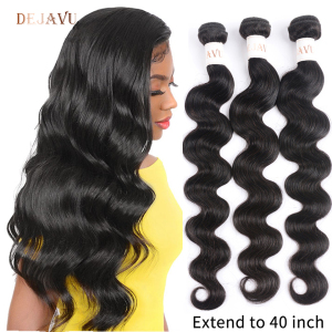 Dejavu Body Wave Bundles Remy Hair 3 Bundle Deal Peruvian Hair 30 40 Inch Bundles High Ratio Natural Color Hair Bundles(China)