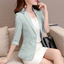 2020 Korean Slim Striped Women Short Coat Casual Single Button Three Quarter Sleeve Office Lady