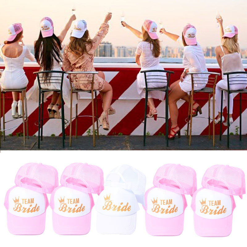1PCS BRIDE TEAM Baseball Cap Bride To Be Bachelorette Party Bridal Shower Wedding Party Decoration Bride Hen Party Accessories,Q
