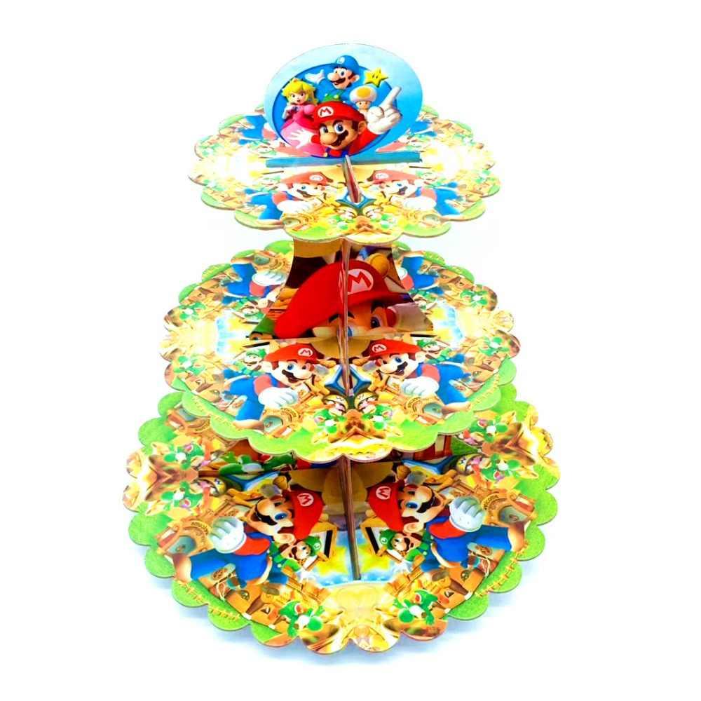1set Birthday Party Supplies Decoration Super Mario Bros 3-tier Paper Cake Stand Baby Shower Party Cartoon Cupcake Stand Supplie