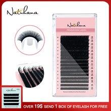 NATUHANA-extensiones de pestañas postizas individuales, 8-15mm, mezcla de 16 hileras, hechas a mano, visón de seda