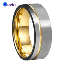 Gold Wedding Band Tungsten Carbide Jewelry Ring With Black Sides And Offset Groove 8MM Comfort Fit