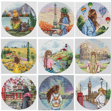 Cross-Stitch Embroidery Chinese 18CT Needlework Counted 11CT Travel-Patterns 14CT DIY