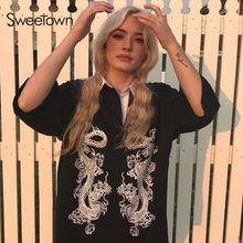 Sweetown Punk Gothic Plus Size Vrouwen T-shirt Streetwear Korte Mouw Turn Down Kraag Lange Shirt Double Dragon Print Zomer tops(China)
