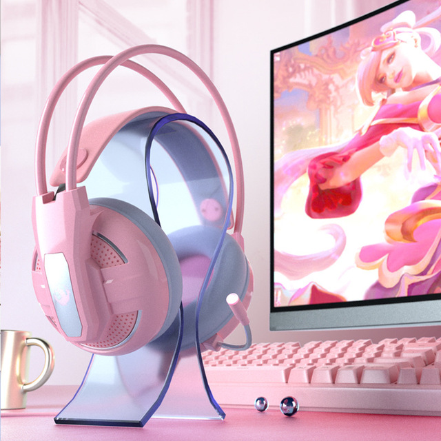 Yulass Gaming Headphones Wired Girl Pink Stereo Large Headphone Noise Canceling Headphone With microphone 2