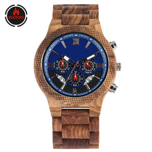 REDFIRE Business Men's Watch Natural Full Wooden Bangle Wristwatch Chronograph M