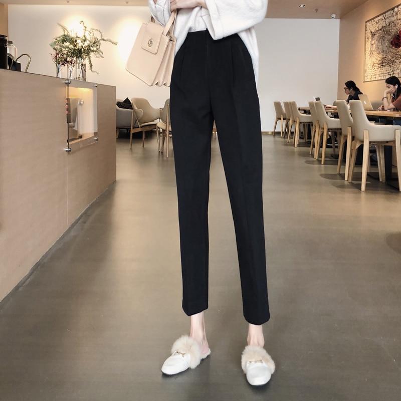 H6e9ffc60724646969d842b2e69373603M - Autumn / Winter High Waist Thick Broadcloth Solid Pants
