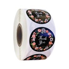 500pcs / roll thank you color stickers label seal scrapbook flaky gift box floral decoration office stationery sticker
