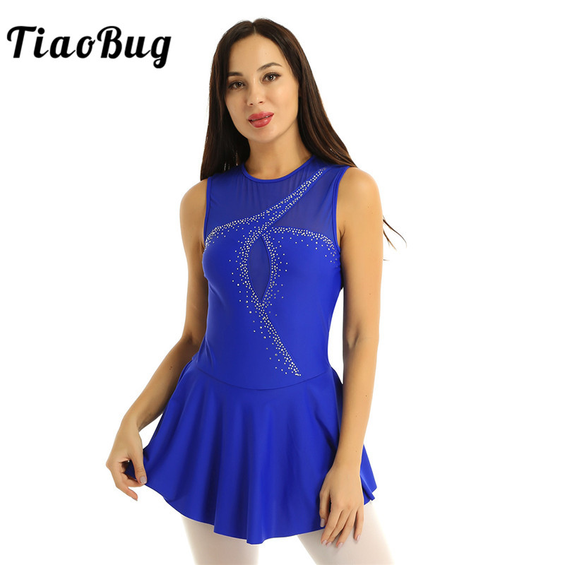 TiaoBug Adult Sleeveless Mesh Splice Rhinestones Figure Skating Dress Women Ballet Gymnastics Leotard Competition Dance Wear