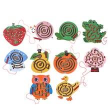 Juguete de laberinto magnético para niños, juego de rompecabezas de madera, Teaser de cerebro educativo temprano, juguete de madera, tablero de rompecabezas intelectual