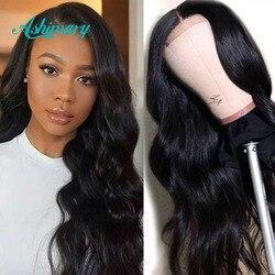 Ashimary 4x4 pelucas con cierre de encaje, cabello humano, cuerpo brasileño, ondas encaje pelucas para mujeres negras pre-arrancadas con cabello de bebé 180 de densidad