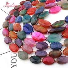 Natural-Stone-Beads Oval Faceted Jewelry Making Diy Necklace Agates Loose Multicolor