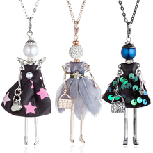 HOCOLE Fashion Dress Doll Necklaces For Women Handmade Sequins Crystal Girls Long Chain Pendant Necklace Jewelry Wholesale