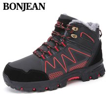 Brand Fur Warm Men Hiking Shoes Waterproof Leather Shoes Climbing Snow Shoes New Popular Outdoor Shoes Men High Top Winter Boots