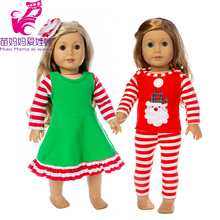 цена doll clothes christmas dress pajama set for 43cm baby new born doll oufit 18 inch american doll new year clothes Christmas gift онлайн в 2017 году