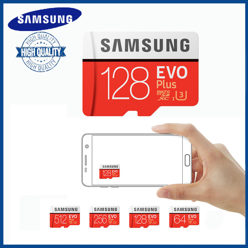 Samsung Micro SD 128gb Memory Card 256gb 512gb 64gb TF 100mb/s U3 Class10 SDXC MicroSD EVO+ Sd Kaart With Free Gift USB Reader