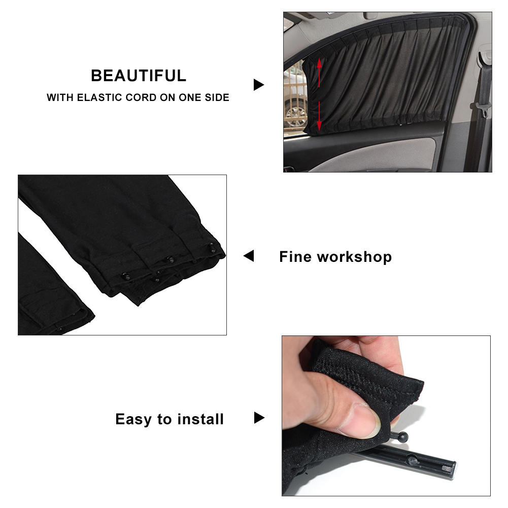 lowest price 2 pcs 50S Car Anti-UV Side Window Sunshades Car Window Shade Curtain Auto Rear Windshield Sun Block For Most Of Cars SUV