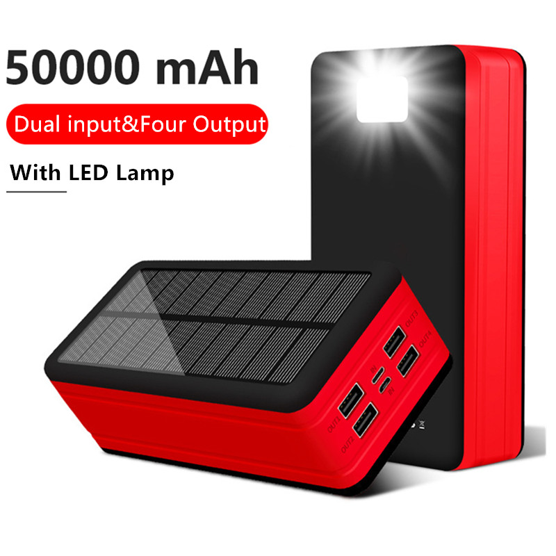<font><b>Solar</b></font> <font><b>Power</b></font> <font><b>Bank</b></font> <font><b>50000mAh</b></font> <font><b>Solar</b></font> Powerbank 4 USB Portable External Battery Charger Pack For Xiaomi Mi 3 iPhone Samsung PoverBank image