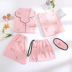 متعددة -- خمس قطع القطن الخالص منامة المرأة قصيرة الأكمام السراويل الصيف سترة دعوى البلوز ثوب النوم المرأة الصيف المنزل ارتداء