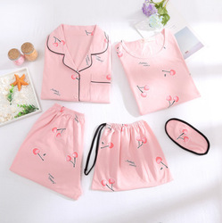 Multi--Five-Piece Pure Cotton Pajamas WOMEN'S Short Sleeved Shorts Summer Cardigan Suit Pullover Nightgown Women's Summer Home W