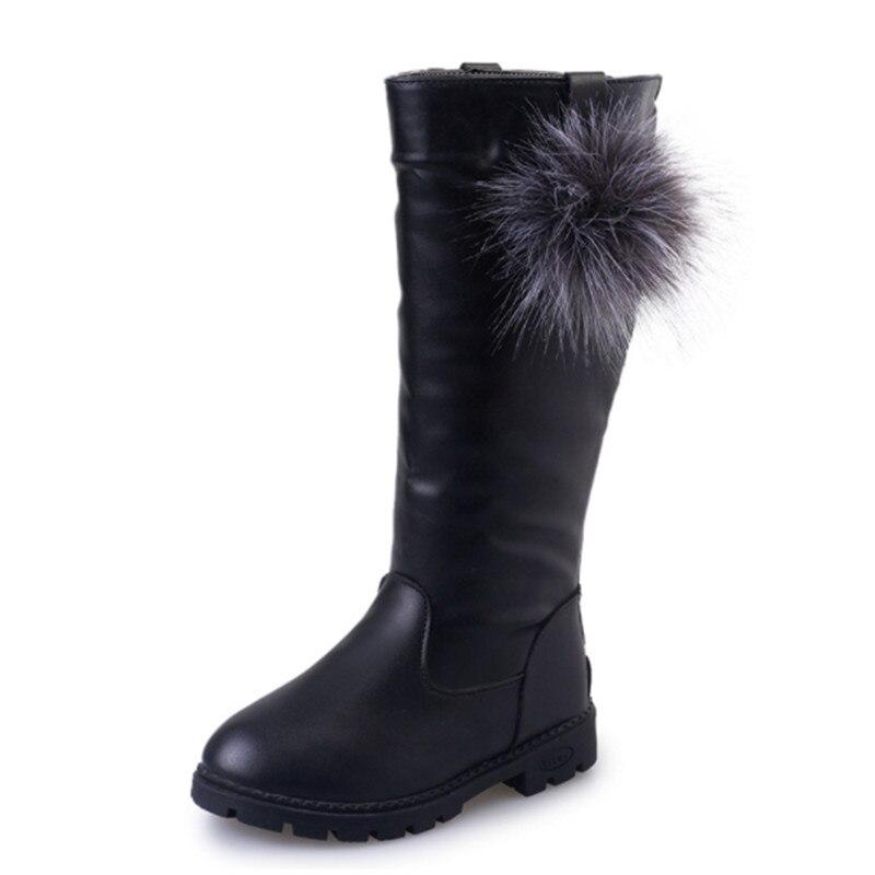 Зимние сапоги для девочек, однотонная детская обувь из искусственной кожи, модные детские сапоги до колена на молнии для девочек, детские зи...