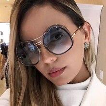 oval women metal sunglasses Fashion Vintage Big Shade Female