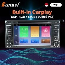 Eunavi Dsp 2 Din Android 10 Auto Dvd-speler Gps Voor Vw/Volkswagen/Touareg/Transporter T5 2004-2011 Auto Multimedia Radio 8 Core