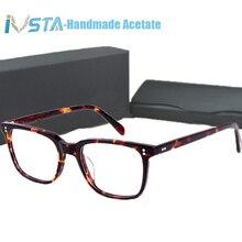 OV 5031 com logotipo NDG 1 IVSTA Homens Óculos de Acetato Frame Ótico Prescrição Miopia Polarizada Óculos De Sol Quadrado Caixa De Marca De Luxo