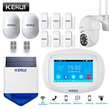 KERUI K52 Home Security Aalrm System WIFI GSM Wireless App Control 4.3inch Touch Screen Panel PIR Sensor Solar Siren Door Sensor 1