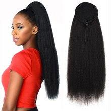 Kinky reta rabo de cavalo para as mulheres sintético de alta qualidade cordão afro yaki cabelo extensões 28.87 polegadas longo rabo de cavalo
