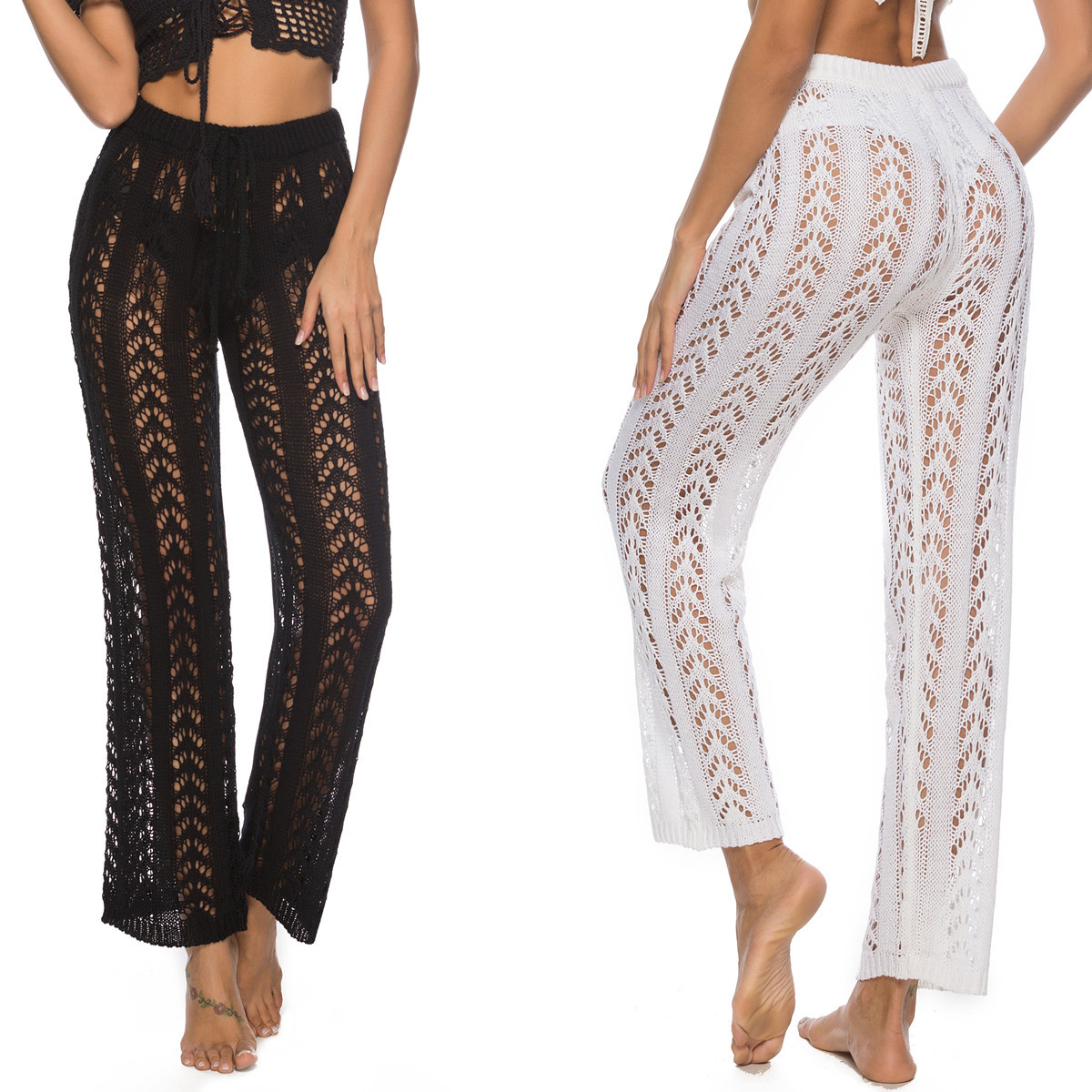 Stylish Mesh Pattern Lacy High Waist Swimsuit Cover Up Pants Handmade