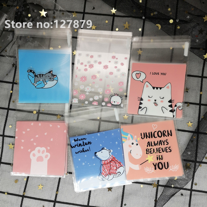 100pcs 7x7cm Cartoon Cat Gifts Bags Cookie Packaging Self-adhesive Plastic Bags For Biscuits Candy Food Cake Package Party Favor