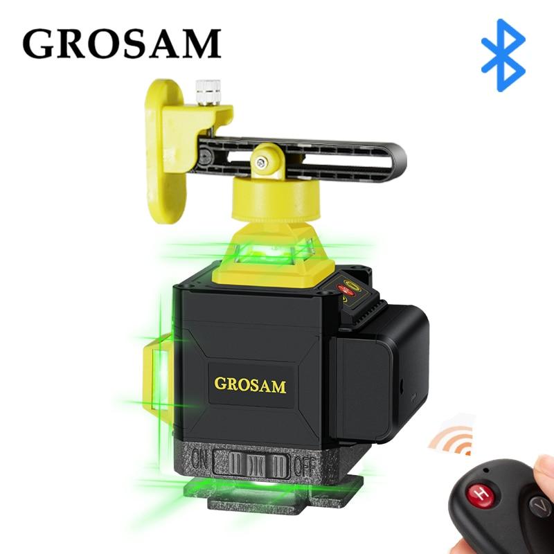 GROSAM 16 linee 4D livelli Laser verdi 360 linee trasversali orizzontali e verticali con autolivellamento automatico all'interno e all'esterno
